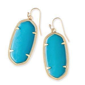 Kendra scott elle gold drop earrings/light blue